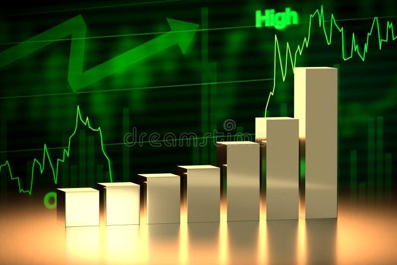 De Grafiek van de stierenEffectenbeurs, het 3D Teruggeven stock illustratie