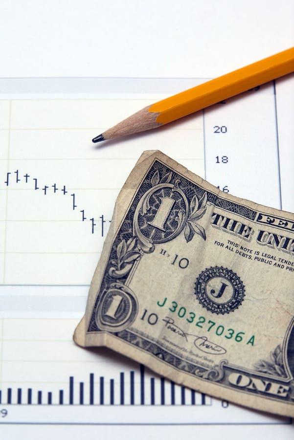 De grafiek van de voorraad en van de het gelddollar van de V.S. de muntrekening royalty-vrije stock fotografie