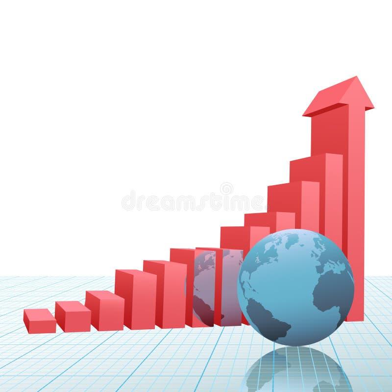 De grafiek van de vooruitgang op pijlaarde op millimeterpapier royalty-vrije illustratie