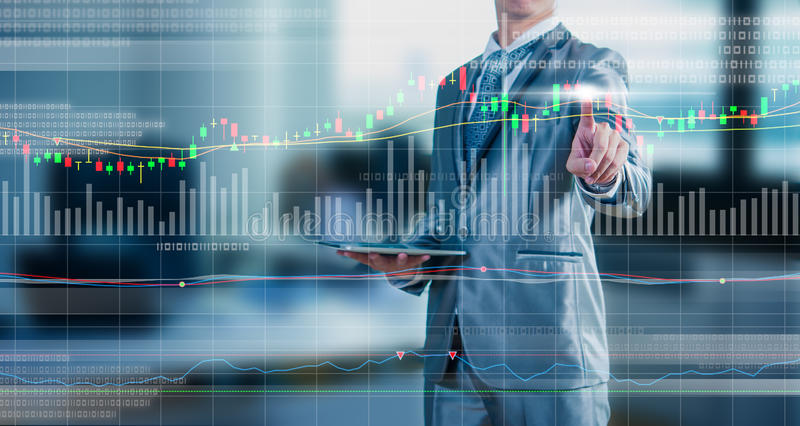 De grafiek van de zakenmantekening, voorraad marketing concept stock fotografie