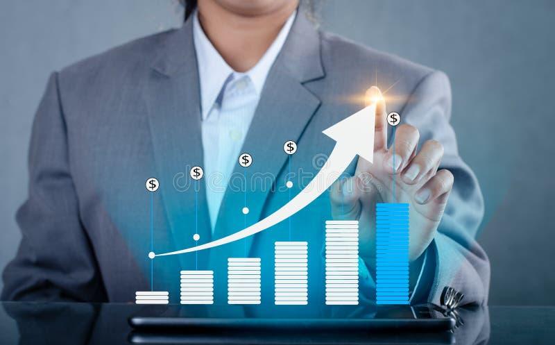 De grafiek van financiële de groei globale communicatie Binaire Smartphones en de wereld Internet drukken de telefoon in Inte mee stock afbeeldingen