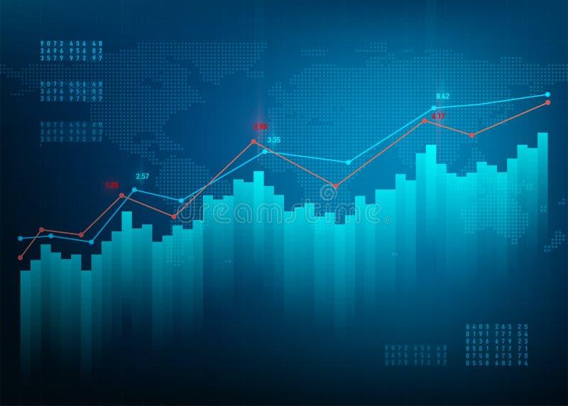 De grafiek van financiën De markt van de voorraadgrafiek De groei bedrijfs blauwe vectorachtergrond De online bank van bandgegeve vector illustratie