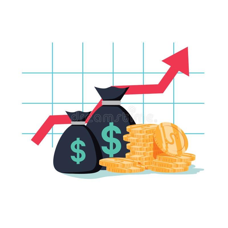 De grafiek van de financiënproductiviteit, terugkeer op investeringsgrafiek, begroting planning, uitgavenconcept, rekenschap geve vector illustratie