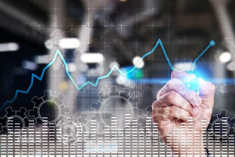 De grafiek van de gegevensanalyse op het virtuele scherm Bedrijfsfinanciën en technologieconcept royalty-vrije stock afbeeldingen