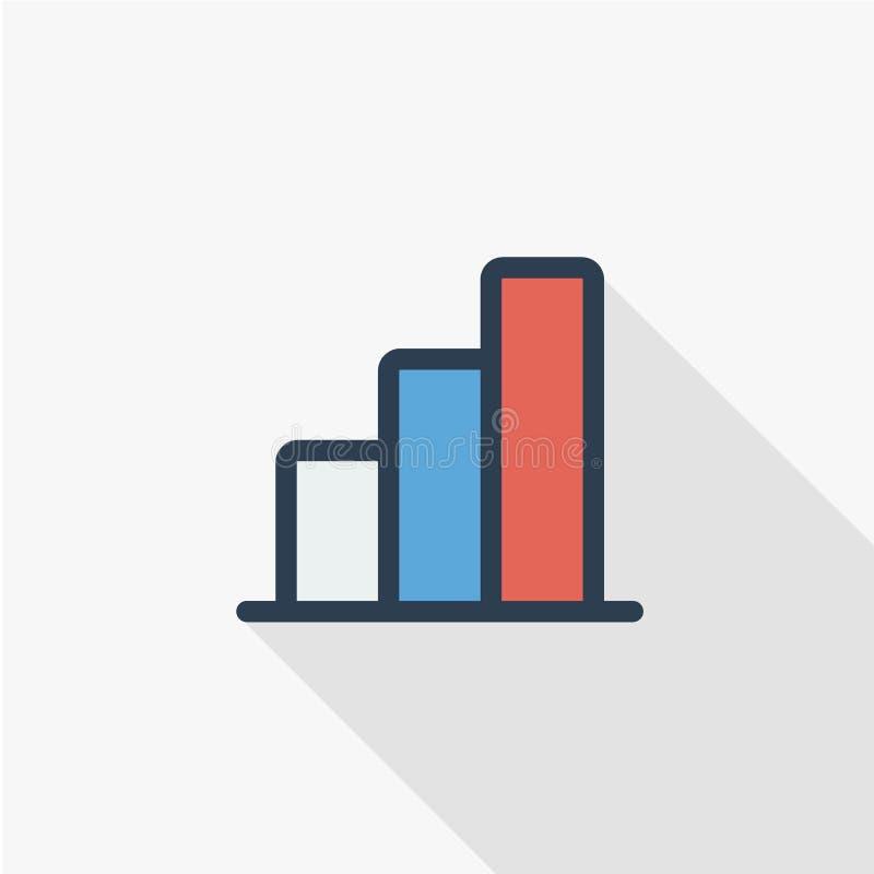 De grafiek van de de groeigrafiek, marktsucces, pictogram van de de lijn vlakke kleur van de voorraadbar het omhoog dunne Lineair vector illustratie