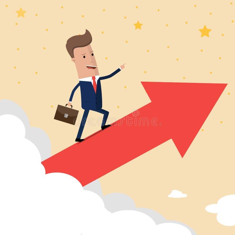 De grafiek van de de groeipijl van de zakenmanrit op wolk krijgt heel wat geld Verschillende 3d bal Vector illustratie vector illustratie