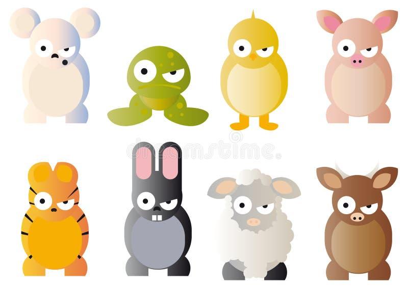 De grafiek van het beeldverhaal van dieren stock illustratie