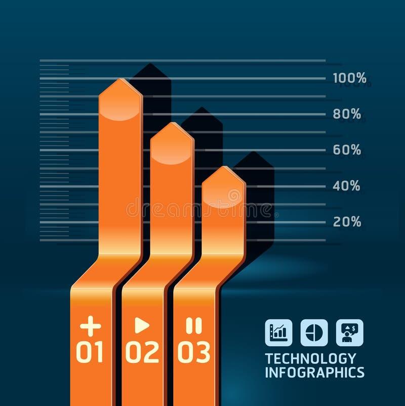 De grafiek van het de pijldiagram van Infographic. Gedetailleerd vector illustratie