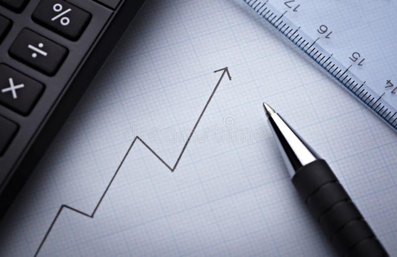 De grafiek van het diagram voor financiënzaken stock foto