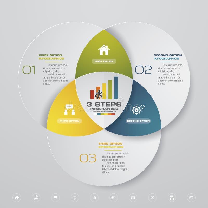 de grafiek van het het elementenmalplaatje van 3 stappeninfographics royalty-vrije illustratie