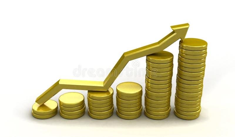 De grafiek van het muntstuk vector illustratie
