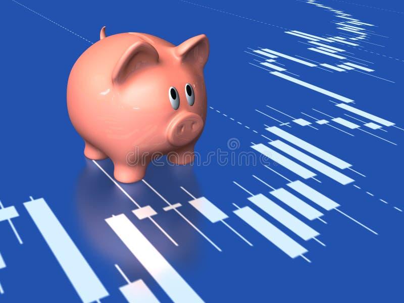 De grafiek van het spaarvarken en van de voorraad royalty-vrije stock afbeelding