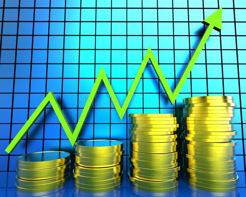 De Grafiek van het verhogingscontante geld betekent Financieel verslag en Vooruitgang vector illustratie