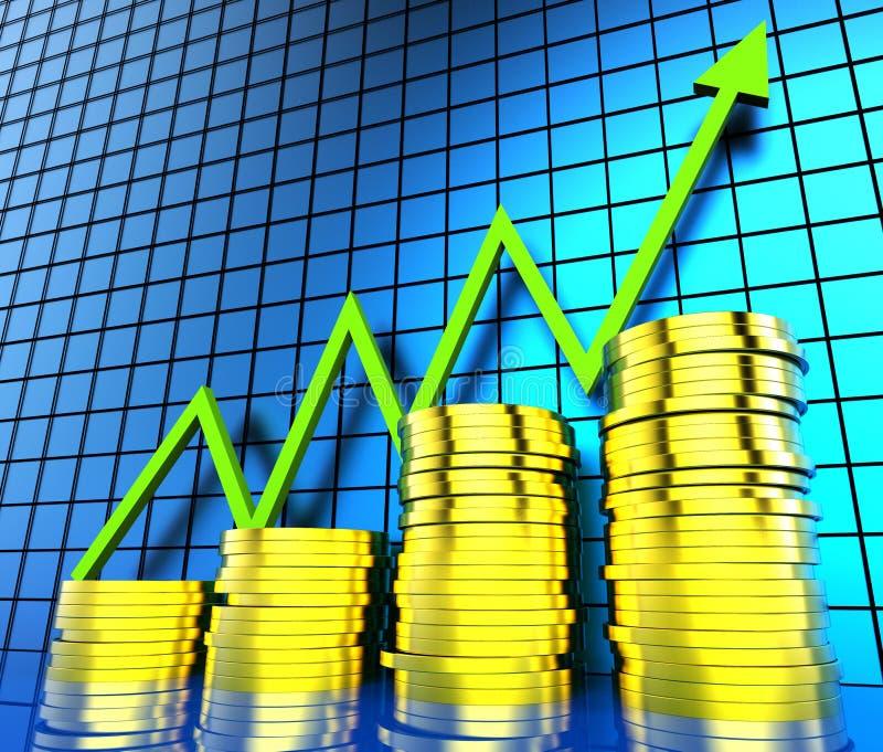 De Grafiek van het verhogingscontante geld toont Financieel verslag en Analyse vector illustratie