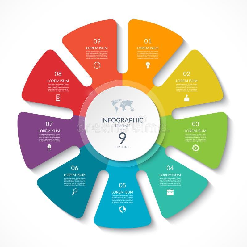 De grafiek van de Infographiccirkel Vectorcyclusdiagram met 9 opties stock illustratie