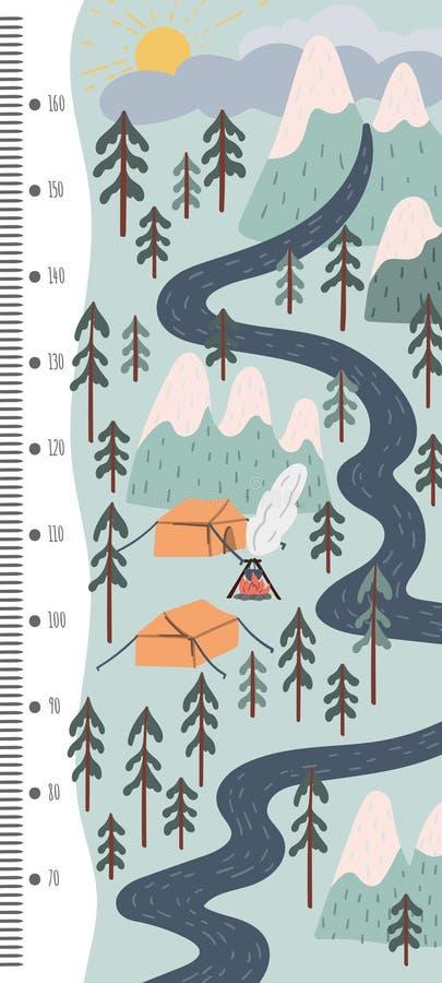 De grafiek van de jonge geitjeshoogte Bergen en rivier, kamp in het hout Skandinavische de stijlillustratie van de stijlhand getr vector illustratie