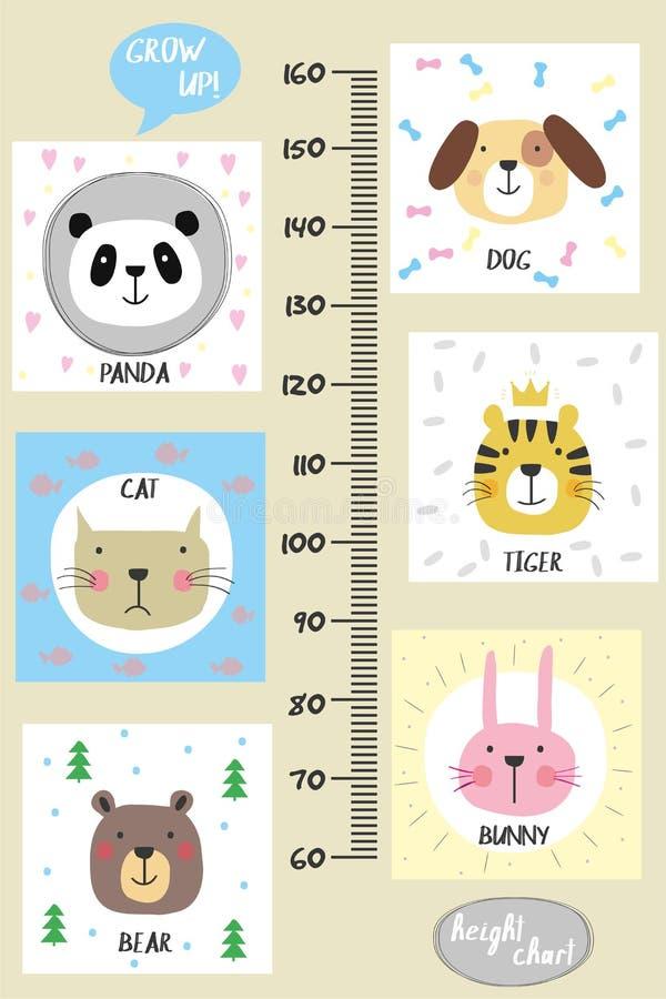 De grafiek van de jonge geitjeshoogte Leuke en grappige dieren stock illustratie