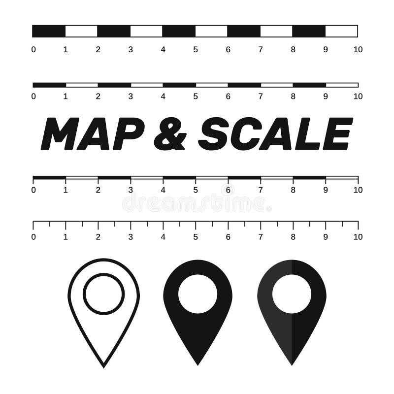 De grafiek van kaartschalen voor het meten van afstanden Kaart v van de schaalmaatregel stock illustratie