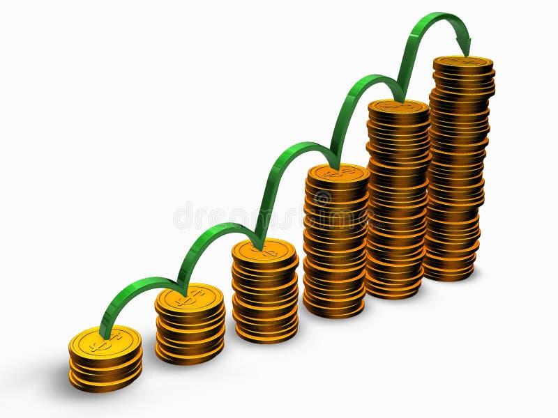De grafiek van muntstukken royalty-vrije illustratie
