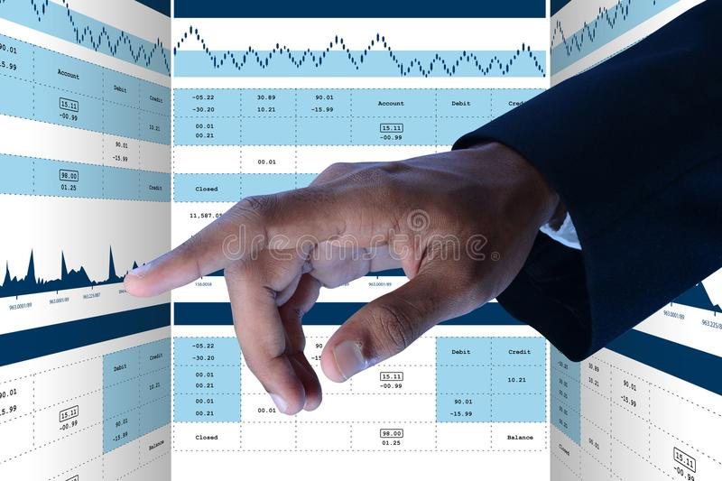 De grafiek van de verkoopgroei in effectenbeurs stock afbeelding