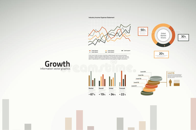 De grafieken en de grafieken van de groei voor zaken royalty-vrije illustratie