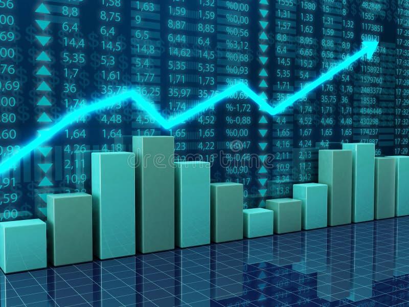 De grafieken van financiën en van de economie