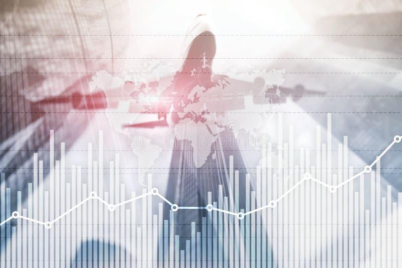 De grafiekgrafiek die van de bedrijfsfinanci?ngroei diagram handel en forex dubbele blootstelling gemengde de media van het uitwi stock foto's