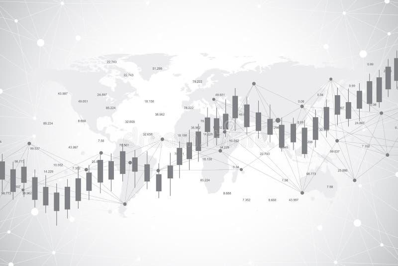 De grafiekgrafiek van de bedrijfskaarsstok van effectenbeursinvestering die op van de Achtergrond wereldkaart ontwerp handel drij royalty-vrije illustratie