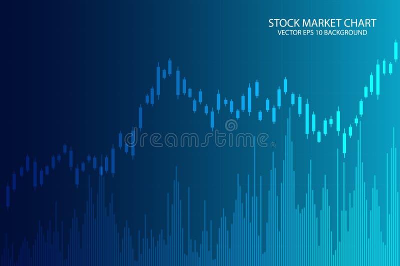 De grafiekgrafiek van de bedrijfskaarsstok van effectenbeursinvestering die op blauwe achtergrond handel drijven Vector illustrat vector illustratie