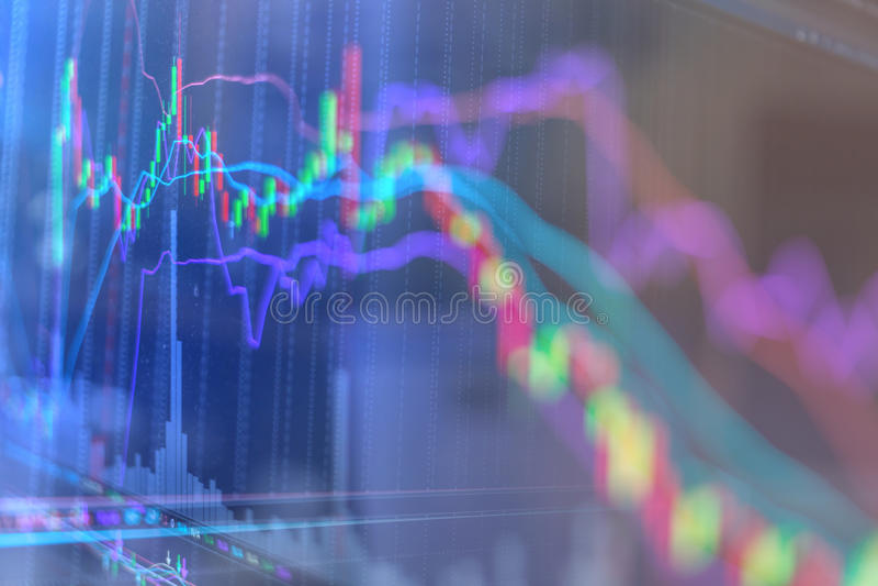 De grafiekgrafiek van de kaarsstok van trad de investering van de financiëneffectenbeurs royalty-vrije stock afbeelding