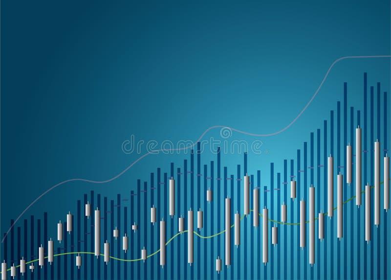 De grafiekgrafiek van de kaarsstok van effectenbeursinvestering die, Stijgend punt, punt ? la baisse handel drijven De grafiekgra stock illustratie