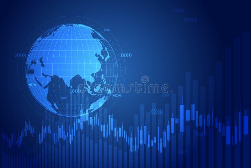 De grafiekgrafiek van de kaarsstok in financiële markt, Forex die grafisch concept uitwisselen royalty-vrije illustratie