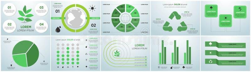 De grafiekinzameling van de ecologieinformatie - duurzaam concept - grafieken, symbolen, grafische elementen royalty-vrije illustratie