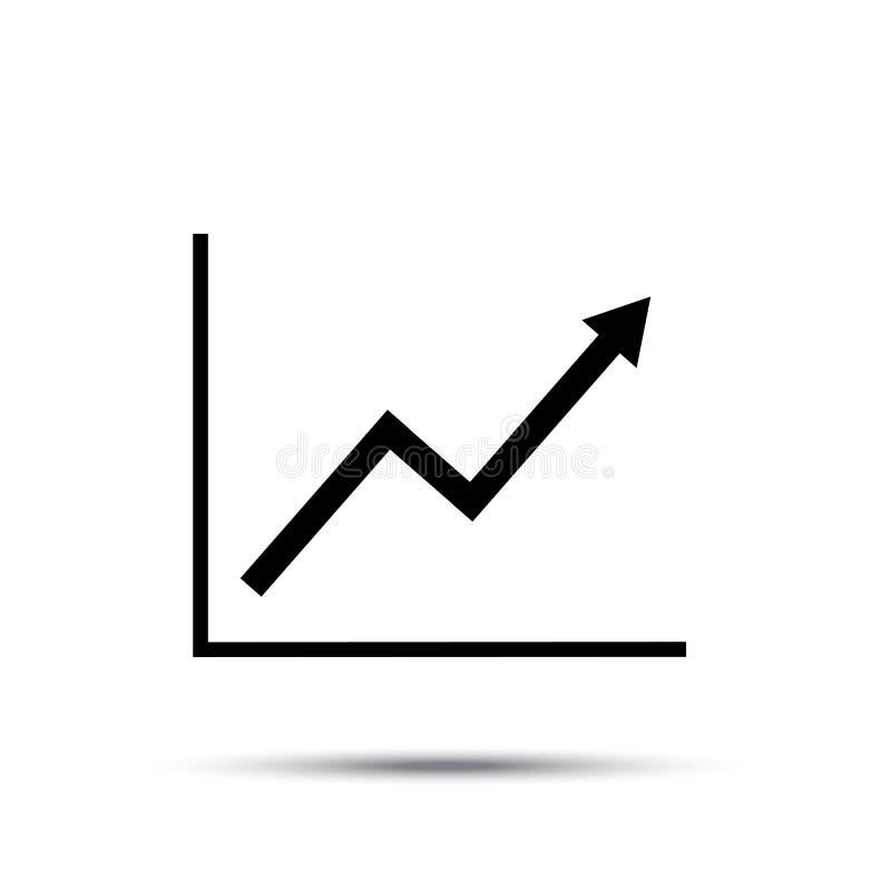 De grafiekpictogram van de de groeilijn Het kweken van diagram vlakke vectorillustratie met schaduw stock illustratie