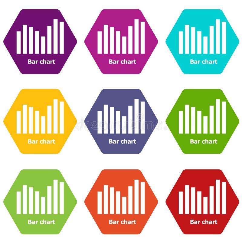 De grafiekpictogrammen plaatsen vector 9 stock illustratie