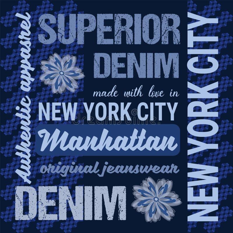 De Grafiektypografie van manierjeans, de stencil van de Kunstwerkkleding Grafiek voor het product van de T-shirtdruk, kleding Gem royalty-vrije illustratie