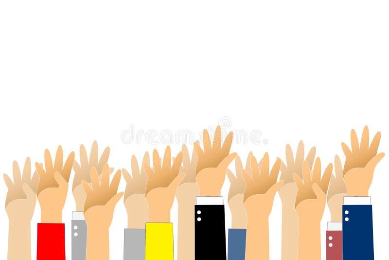 De grafische hand omhoog en de stemtekst zijn rode kleur op witte achtergrond Grafische vele mensenhand omhoog met wegenlaag royalty-vrije illustratie