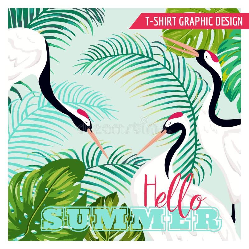 De grafische Illustratie van Japaneese-Kranen en de Tropische Bloemen voor T-shirt ontwerpen, vormen drukken, Banner, Vlieger royalty-vrije illustratie