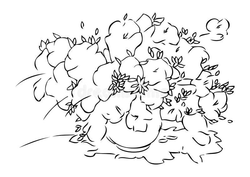 Boeket van bloemen in vaas grafische illustratie royalty-vrije illustratie