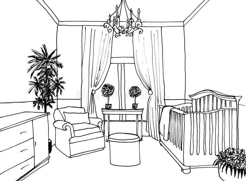 De grafische schets van de jonge geitjesruimte royalty-vrije illustratie