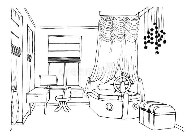 De grafische schets van de jonge geitjesruimte stock illustratie