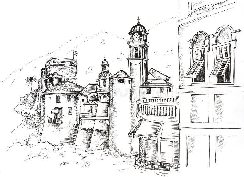 De grafische tekening Camogli van de inktpen royalty-vrije stock foto's