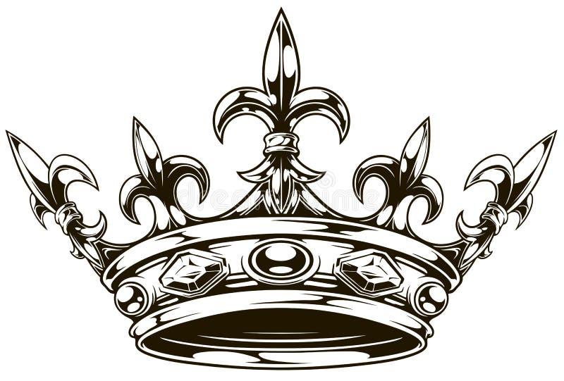 De grafische zwart-witte vector van de koningskroon royalty-vrije illustratie