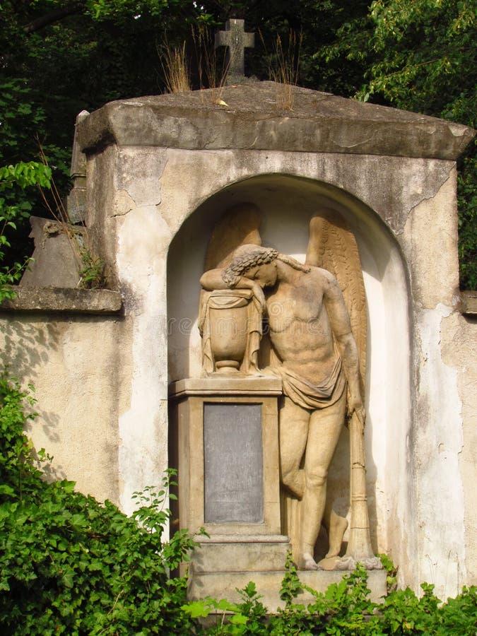 De grafsteen met een engelenstandbeeld op een verlaten oude begraafplaats, klimop vertakt zich stock foto's