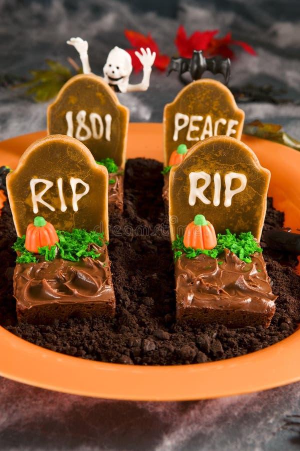 De grafsteen van Halloween brownies royalty-vrije stock foto's