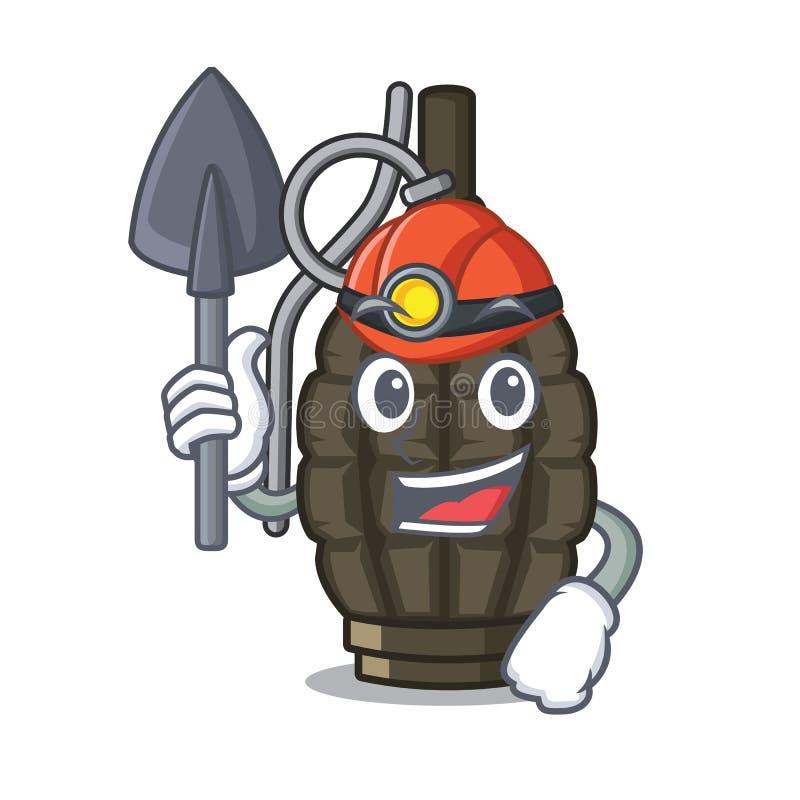 De granaat a van het mijnwerkersbeeldverhaal in de zak stock illustratie