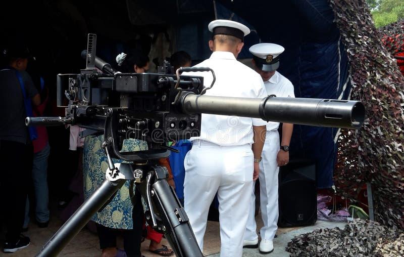 De Granaatmachinegeweer van HK ook als GMW op vertoning die vaak tijdens wordt bedoeld stock foto