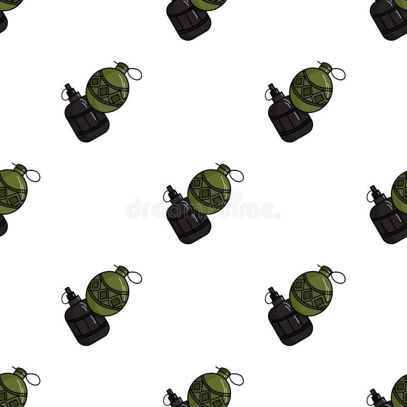 De granaatpictogram van de Paintballhand in beeldverhaalstijl op witte achtergrond De voorraad vectorillustratie van het Paintbal stock illustratie