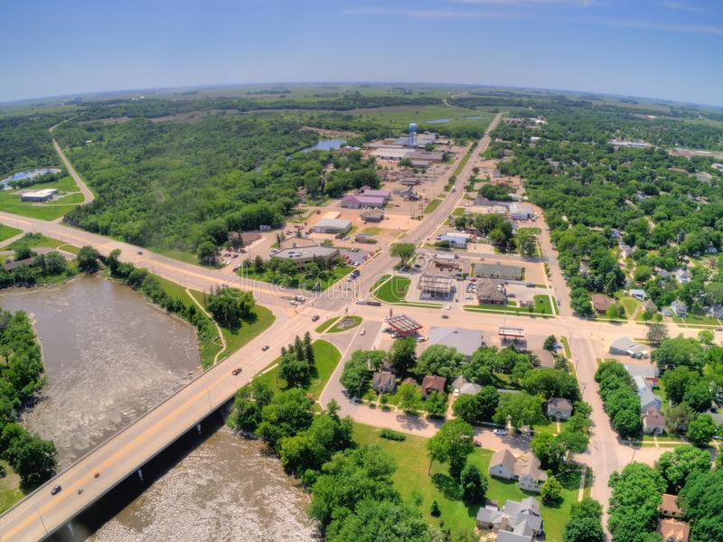 De granietdalingen is een kleine Stad in Landelijk Minnesota stock foto's