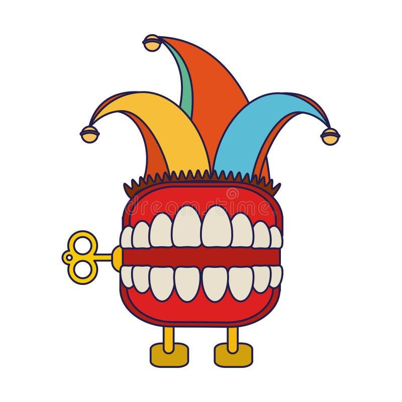 De grap van de tandendoos met het beeldverhaal blauwe lijnen van de narrenhoed vector illustratie